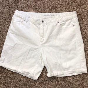 Michael Kota White Jean Shorts